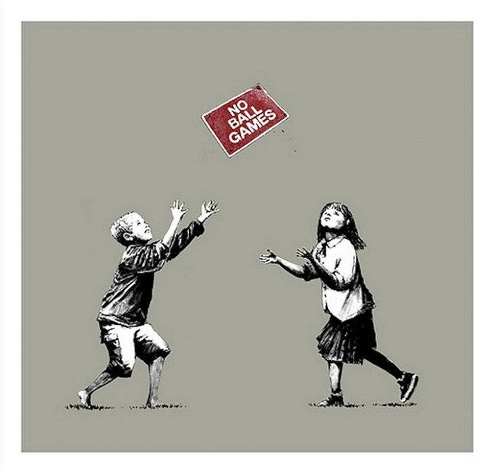 Banksy No Ball Games Grey