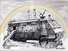 Rainbow Riot Truck Dismaland Personalised Print